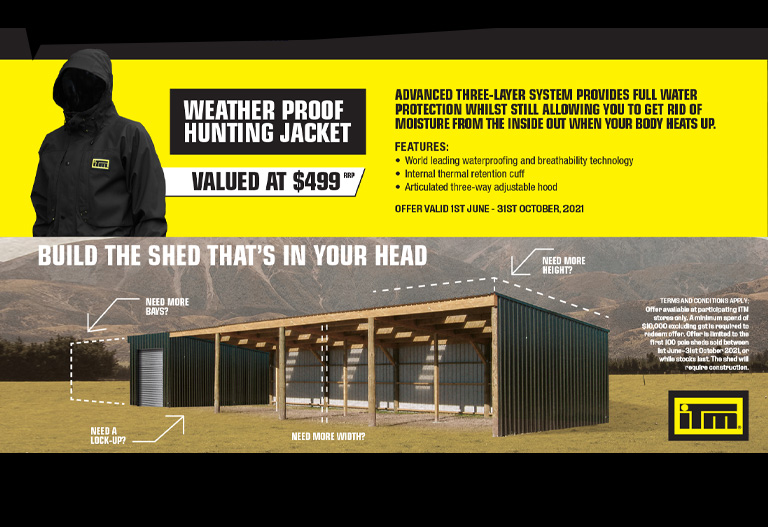 Buy An ITM Pole Shed And Get A Free Hunting Jacket